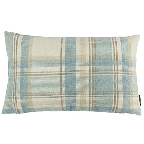 McAlister Heritage Boudoir Decorative Pillow Cover | 18x12 Sky Blue & White | Plush Wool-Textured Flannel Plaid | Tartan Check Farmhouse Cabin Accent Décor Checks Decorative Pillow