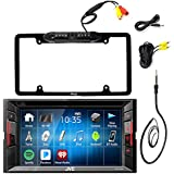 JVC KWV120BT 6.2 Touch Screen Car CD DVD USB Bluetooth Stereo Receiver Bundle Combo With Car License Plate Frame Rear View Colored Backup Parking Camera, Enrock 22 AM/FM Radio Antenna