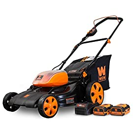 WEN 40439 40V Max Lithium Ion 19-Inch Cordless 3-in-1 Electric Lawn Mower with Two Batteries, 16-Gallon Bag and Charger 54 Includes one 4 amp-hour battery, one 2 amp-hour battery, one 16-gallon bag, one charger, and a two-year warranty Versatile 19-inch steel deck allows users to mulch, bag or use the side discharge door Adjust the cutting height between six different stops ranging from 1.5 to 4 inches