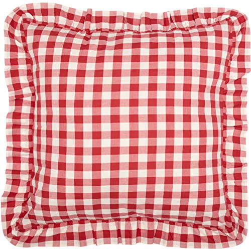 VHC Brands Farmhouse Bedding Annie Cotton Buffalo Check Euro Sham Red Country