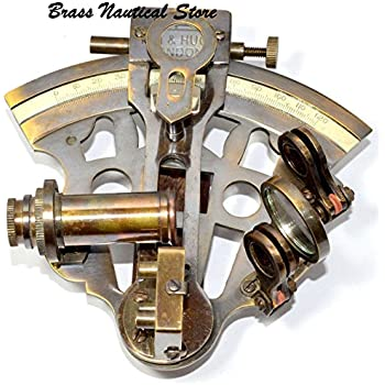 6 brass astrolabe sextant w decorative wooden box nautical home kitchen for Decor star 005 ss