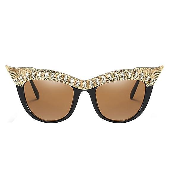 Republe Decoración de diamantes de imitación Moda Mujer Chica AC Lentes de sol Gafas de sol UV400 Gafas de protección PC Marco de metal Lentes al aire ...