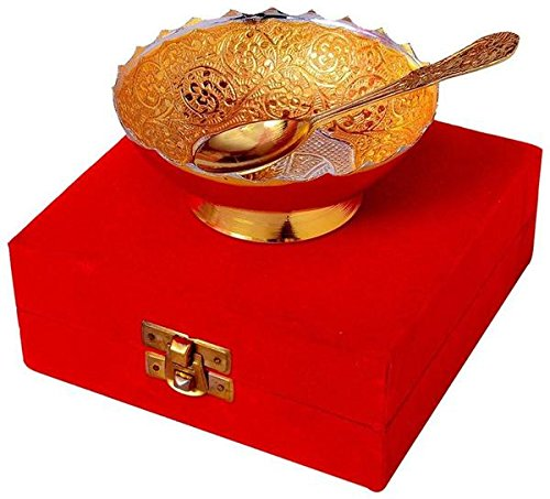 TUZECH Elephant Pattern Gold And Silver Plated Brass Bowl Set Dining Set Cutlery Buisness Gift ()