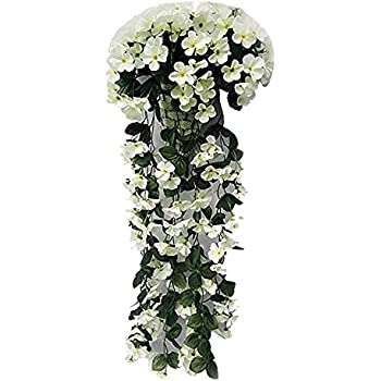 XGuangage Artificial Flowers Fake Hanging Flowers Vine Garland for Wedding Decorations (White)