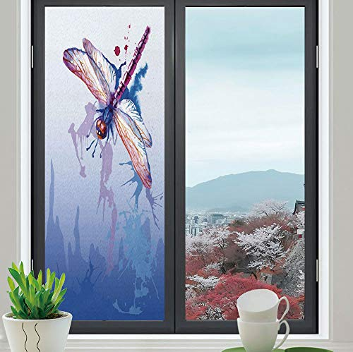 Fly Fishing Stained Glass Window - YOLIYANA Frosted Window Film Stained Glass Window Film,Dragonfly,Work Well in The Bathroom,Colorful Purple Moth Watercolored Design with Abstract Grunge,24''x70''