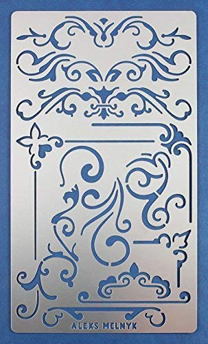 Aleks Melnyk #3 Stencil Metal/Ornament, Dividers/Stainless Steel Planner Stencil Journal 1 PCS/Diary/Bujo/Scrapbooking/Crafting/DIY Drawing Template Stencil
