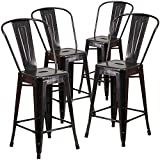 Metal Counter Stools with Backs Flash Furniture 4 Pk. 24'' High Black-Antique Gold Metal Indoor-Outdoor Counter Height Stool with Back