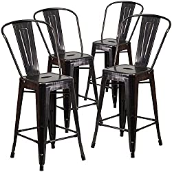 Flash Furniture 4 Pk 24 High Black Antique Gold Metal Indoor Outdoor Counter Height Stool With Back