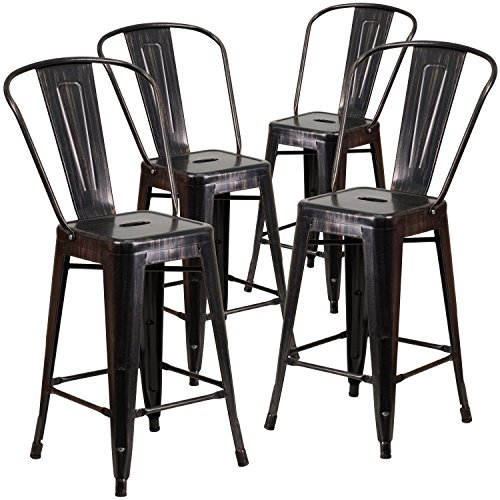 Flash Furniture 4 Pk. 24'' High Black-Antique Gold Metal Indoor-Outdoor Counter Height Stool with Back - Counter Height Dining Furniture