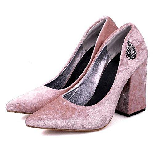 COOLCEPT Zapato Mujer Moda Tacon Ancho alto Sin Cordones Puntiagudo Court Zapatos For Date Rosado