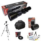 Opteka 500mm-1000mm Telephoto Lens Kit T Mount for Canon EOS 80D, 77D, 70D, 60D, 60Da, 50D, 7D, 6D, 5D, 5DS, 1DS, T7i, T7s, T7, T6s, T6i, T6, T5i, T5, T4i, T3i, T3, T2i, SL2 & SL1 Digital SLR Cameras