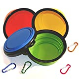 Comsun 4-pack Collapsible Dog Bowl, Food Grade Silicone BPA Free FDA Approved, Foldable Expandable Cup Dish for Pet Cat Food Water Feeding Portable Travel Bowl Blue Green Yellow Orange Free Carabiner