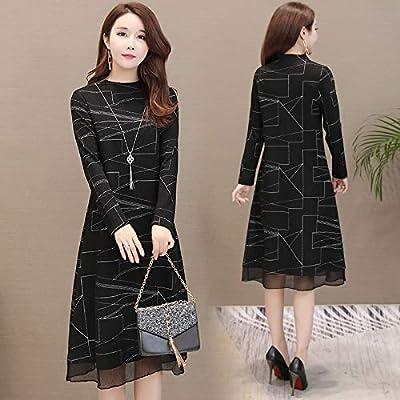 BINGQZ Casual Vestido Falda Larga Negra Vestido Primavera y otoño ...