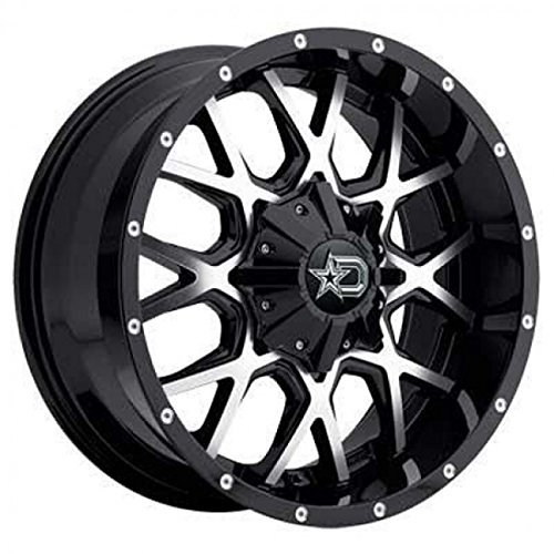 Dropstars 645MB-2096818 Gloss Black with Mirror Machined Face and Chrome Star Cap Wheel Size 20X9 Bolt Pattern 6X135 or 6X5.50 with an offset of +18
