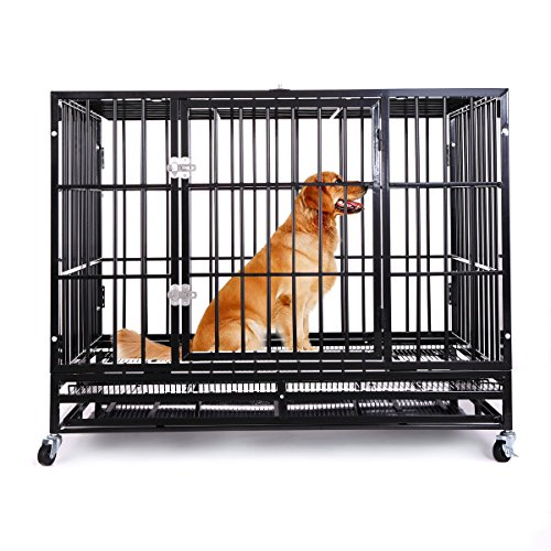 Heavy Duty Dog Crate,Large Metal Strong Dog Kennel Cage with Tray and Wheels (48