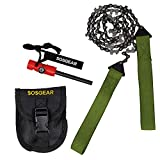 SOS Gear Pocket Chainsaw and Fire Starter – Survival Hand Saw, , Firestarter with Built in Compass & Whistle, Embroidered Pouch for Camping & Backpacking – Green Straps, 24″ Chain
