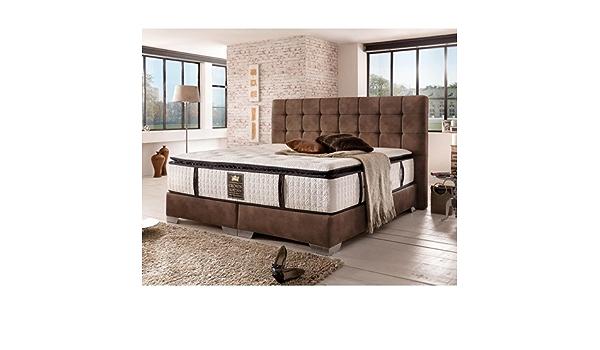 London Cama con somier Deluxe (180 x 200 cm), color marrón ...