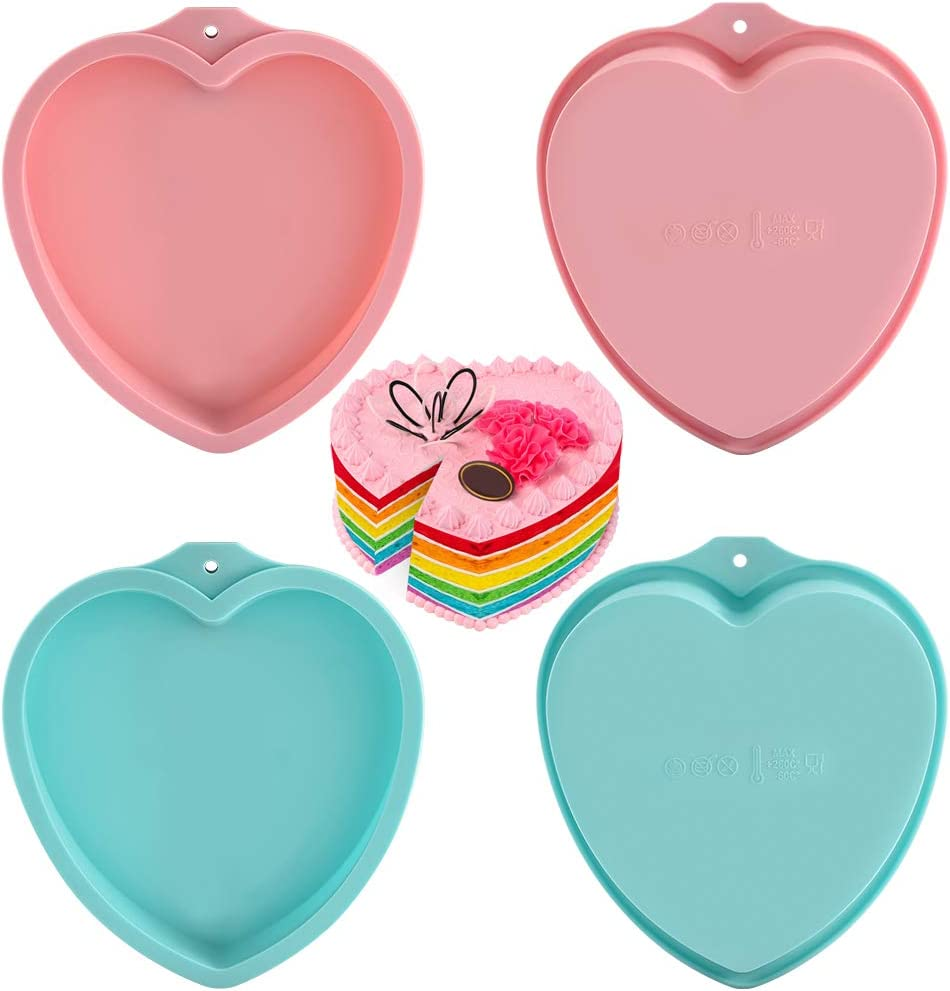PKUGU Cake Pans - Set of 4, 8 inch Heart Shaped Silicone Cake Pans, Baking Pan Baking Mold Set, Cake Pans Sets for Baking, Non-Stick Layer Cake Pan, Silicone Cake Mold for Layer Cakes/Pancakes/Pizza