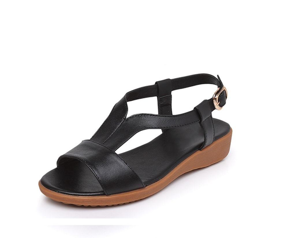 Sandalen für Damen Wort Stil offene Schuhe mit mit mit flachen Freizeit weichen Boden bequeme Schuhe Wild ce4a56