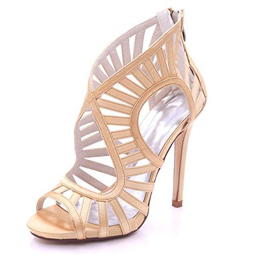 L@YC Frauen Hochzeit Sandalen Offene Zehe High Heel 7216-03 Reißverschluss Mehrfarben Prom 3-8 Court Schuhe Golden