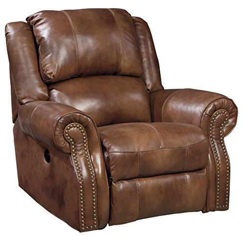 Ashley Leather Recliner - Ashley Furniture Signature Design - Walworth Recliner Chair - Manual Reclining - Auburn Brown