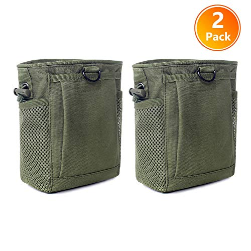 Tactical Molle Drawstring Magazine Dump Pouch, Adjustable Military Utility Belt Fanny Hip Holster Bag Outdoor Ammo Pouch (2 Pack-Army - Magazine Strings