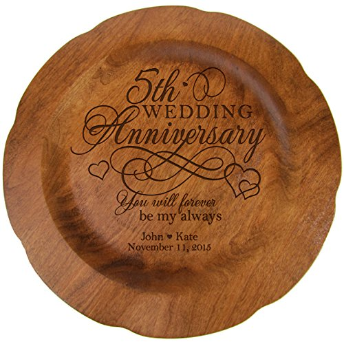 "LifeSong Milestones Personalized 5th Wedding Plate Fifth Year Gifts for Her Him Couple Happy 5 Year Anniversary for Him 12"" for Husband or Wife USA Made (5th Year with Hearts)"