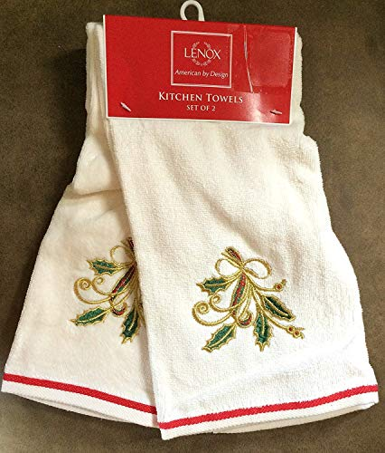 Lenox Holiday Nouveau Kitchen Towels - Set of 2 (Embroidered (Holiday Nouveau Towel)