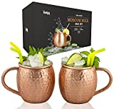 Gadgy Moscow Mule Mugs Set 2 pcs. | Original 100% Pure Copper Cups Handmade with Welded Ear | 475 ml. | Cocktail Shot Schnapps Quality Gift