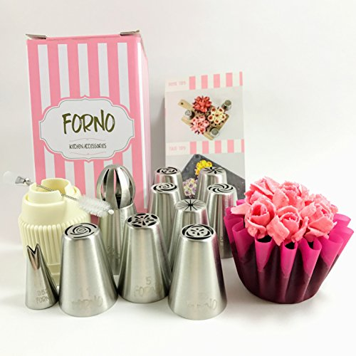 Unique Set of SMALL Russian Piping Tips by Forno 12 PIECE SET (8 Different Flower Nozzles + Sphere Tip + Matching COUPLER + Double Sided Cleaning Brush + Small Leaf Tip) Instruction Book Included