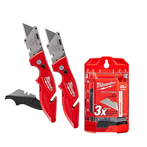 Milwaukee 48-22-1902 Fastback II Flip Utility Knife 2 Pack and 48-22-1975 General Purpose Utility Blades with Dispenser 75-Piece