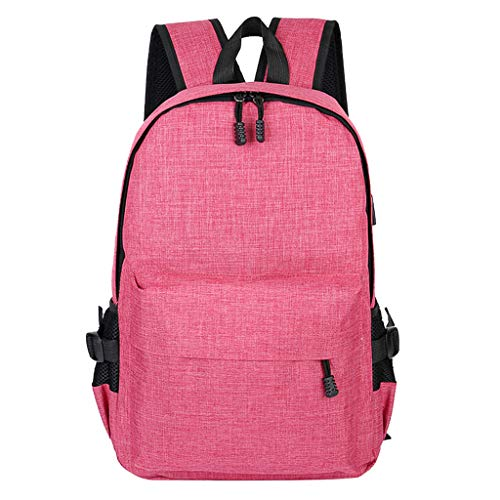 School Laptop Backpack,Futemo Canvas Basic Satchel Large Capacity Travel Student Shoulder Bag with USB for Women Men (Pink)