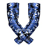 Bucwild Sports Compression Arm Sleeves (Pair) Youth & Adult Sizes Football, Baseball, Basketball, Cycling, Tennis Royal Blue Camo Youth Small YS