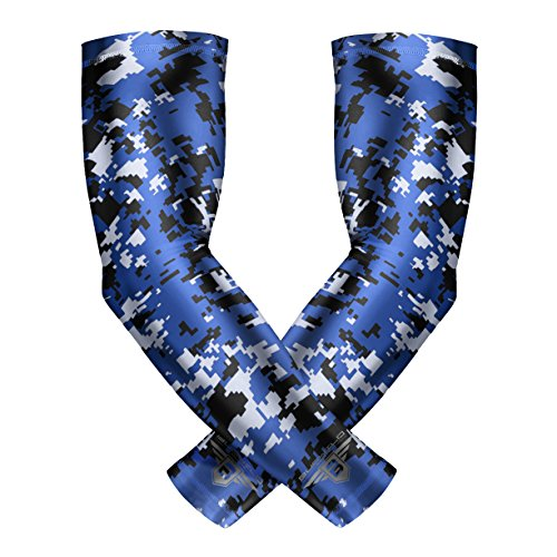Bucwild Sports Youth Compression Arm Sleeves (Pair) Football Baseball Basketball Cycling Tennis Royal Blue Camo Youth Medium YM