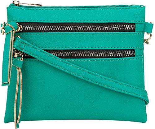 DELUXITY Crossbody Wristlet Bag Adjustable Detachable Strap Small Purse | Teal]()