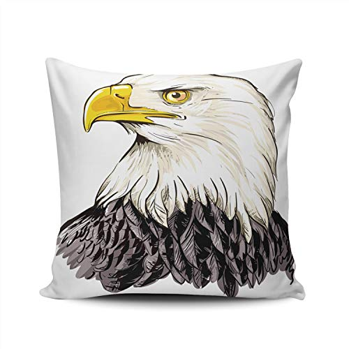 WULIHUA Pillow Covers Bald Eagle Sofa Durable Modern Pillow Case Decorative Custom Throw Pillow Cases Double Sides Printed Square 20x20 Inches