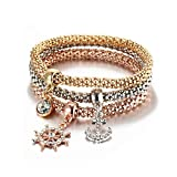 ISAACSONG.DESIGN I's 3 Bracelets Multilayer Gold/Silver/Rose Gold Corn Chain Charms with Crystal Stretch Bracelet Set for Women (Anchor)
