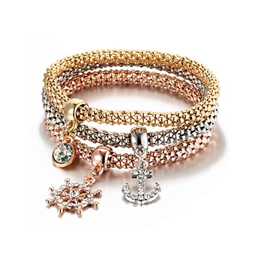 ISAACSONG.DESIGN I's 3 Bracelets Multilayer Gold/Silver/Rose Gold Corn Chain Charms with Crystal Stretch Bracelet Set for Women (Anchor) (Rose Gold Anchor Jewelry)