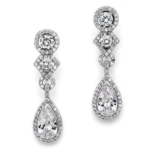 (Mariell CZ Dangling Earrings with Pear-Shaped Drops - Vintage Deco Bridal Statement Earrings for Brides)