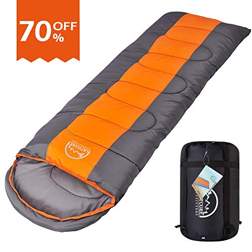 LATTCURE Sleeping Bag, Comfort Portable Lightweight Envelope Sleeping Bag Compression Sack Camping,Hiking,Backpacking,Traveling Other Outdoor Activities -Single,Orange+Grey,(75+12) x33