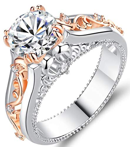 TEMEGO Victorian Filigree Ring - 14k White Rose Gold 2 Tone Large CZ Vintage Engagement Ring,Size 7