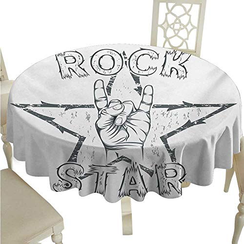 Popstar Party Elegant Waterproof Spillproof Polyester Fabric Table Cover Rock Star Theme High Sign and Star Figure Grungy Sketch Gesture Vintage Runners,Gatsby Wedding,Glam Wedding Decor,Vintage Wedd
