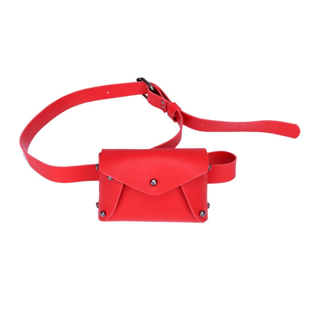 Rakkiss Women Shoulder Bag Chest Bag Women Mini Pure Color Leather Messenger Bag Fashion Girl Handbags Crossbody Bags (One_Size, Red)