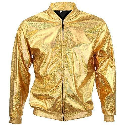 1383b8e3 70s 80s 90s Quality Metallic Shiny Rave Bomber Jacket Hologram Festival  Fancy Dress (Large Gold