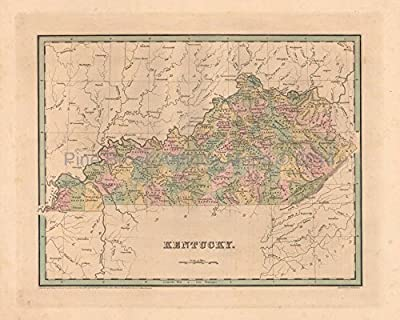 Kentucky Antique Map Bradford 1838 Original Kentucky Decor History Housewarming Ancestry Gift Ideas