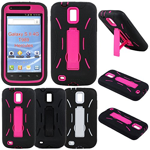 Armor Kickstand Hybrid Case Hard Gel Cover with Stand for Samsung Galaxy S3 I9300, I747 - Black and Pink