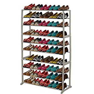 10 tier shoe rack space saving shoe shelf cabinet 50 pairs portable shoe tower - Shoe racks for small spaces collection ...