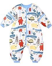Redbear, babyslaapzak met benen, warm gevoerd, winter, lange mouwen, winterslaapzak met voet en babyschoenen, 3,5 TOG (lichaamslengte 110 cm-120 cm