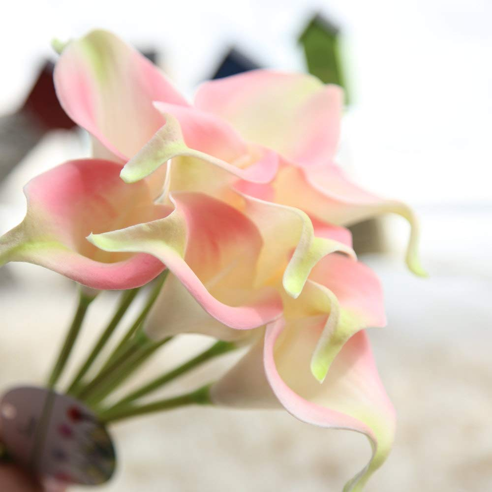Artificial Flowers Pink/&Green Fake Flowers Silk Artificial Calla Lily Bridal Wedding Bouquet for Home Garden Party Wedding Decoration 12Pcs