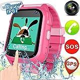 Kid Smart Watch Phone GPS Tracker - IP67 Waterproof Fitness Tracker with SIM SOS Anti-lost Camera Game Digital Wrist Smartwatch for Boys Girls Summer Swim Sport Outdoor Bracelet Watch